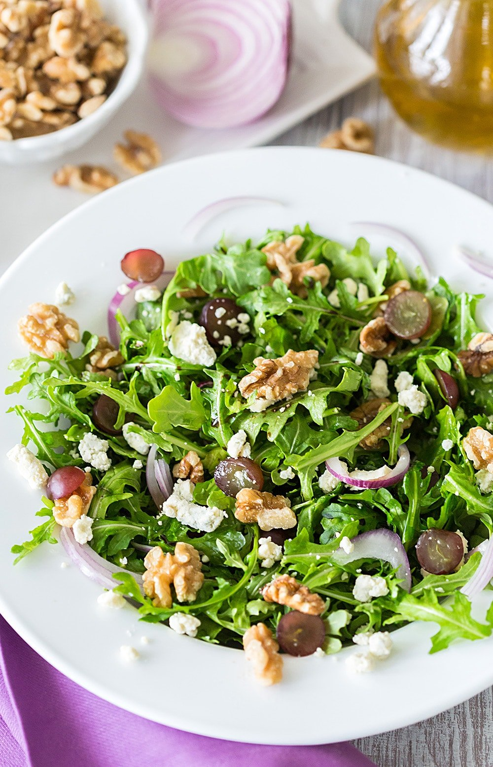 Arugula Salad with Fig Balsamic, Walnuts, and Blue Cheese Crumbles