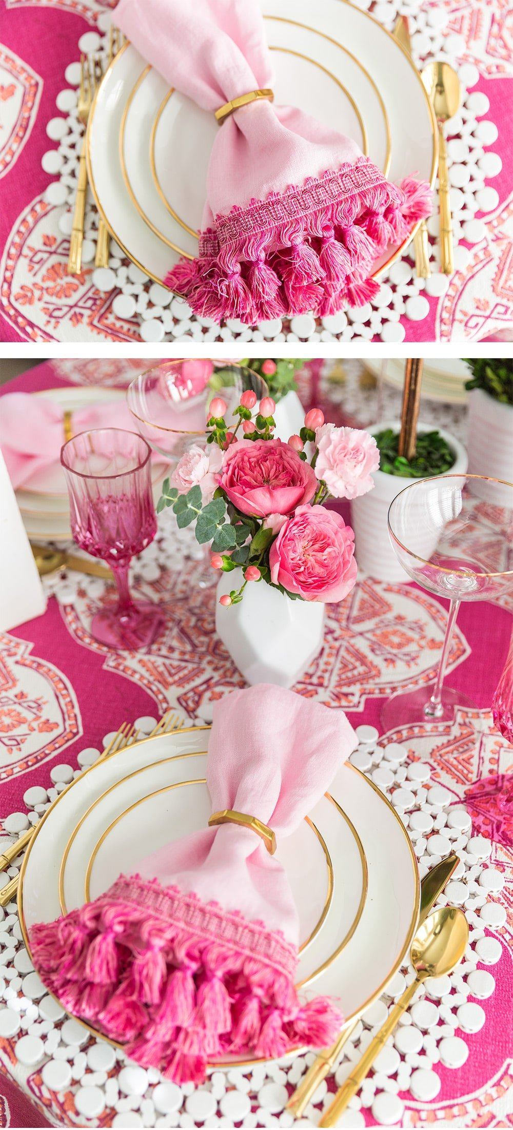 DIY Fringe Trimmed Napkins #diy #craft