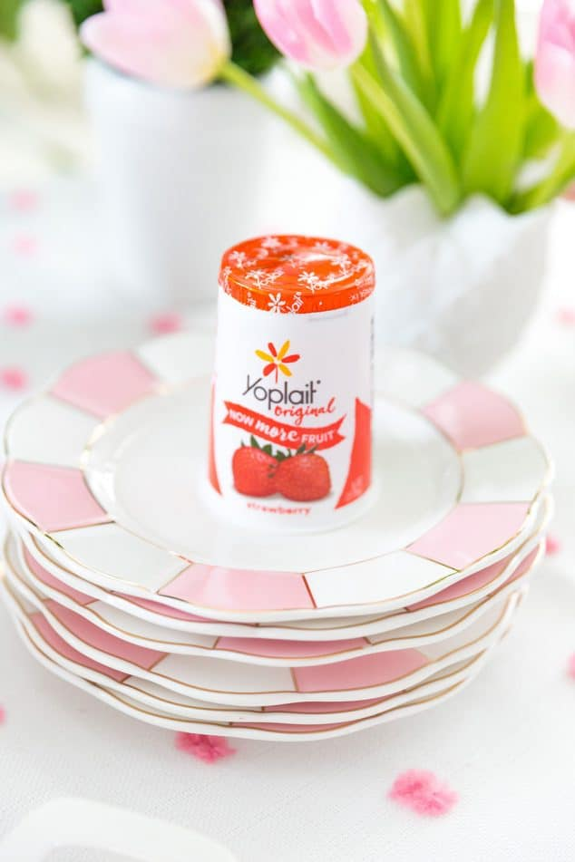 Yoplait Strawberry Yogurt to make Easter Bunny Yogurt Cups