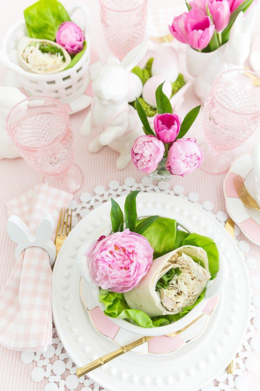 Pink Easter Brunch Tablescape #easter #tablescape