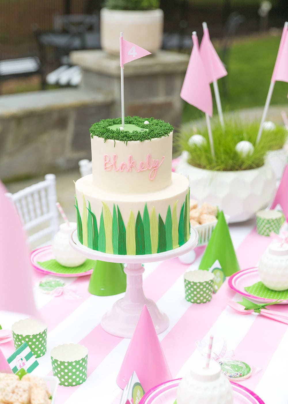 Pink Girl's Golf Birthday Cake