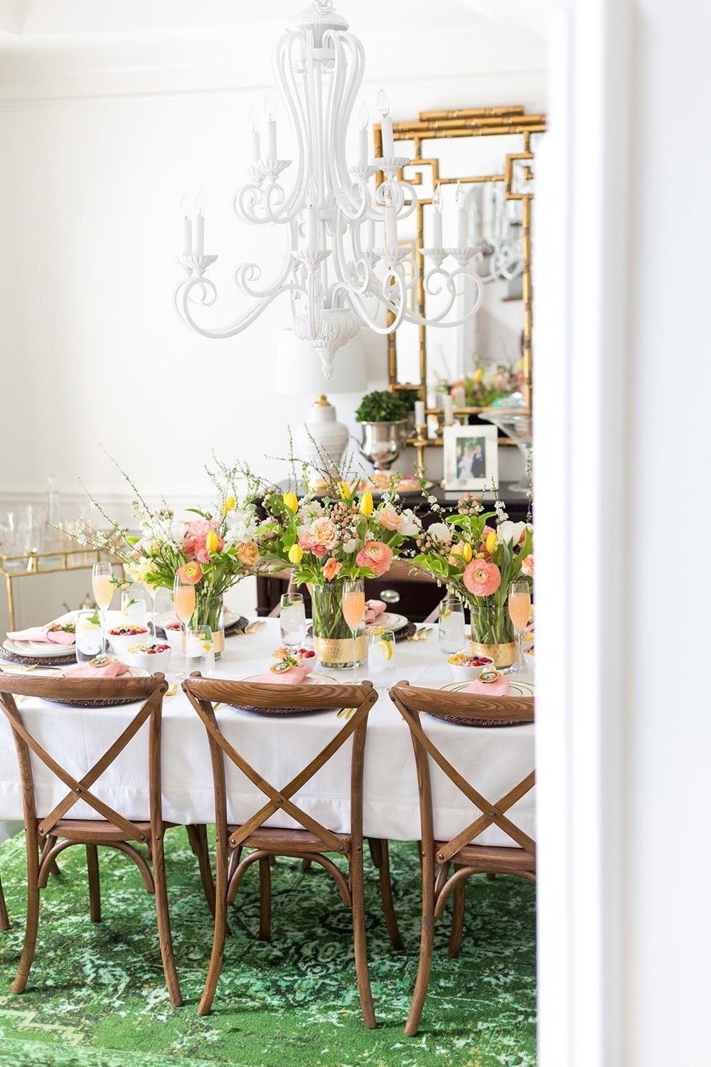 Mother's Day Brunch Tablescape with Flowers