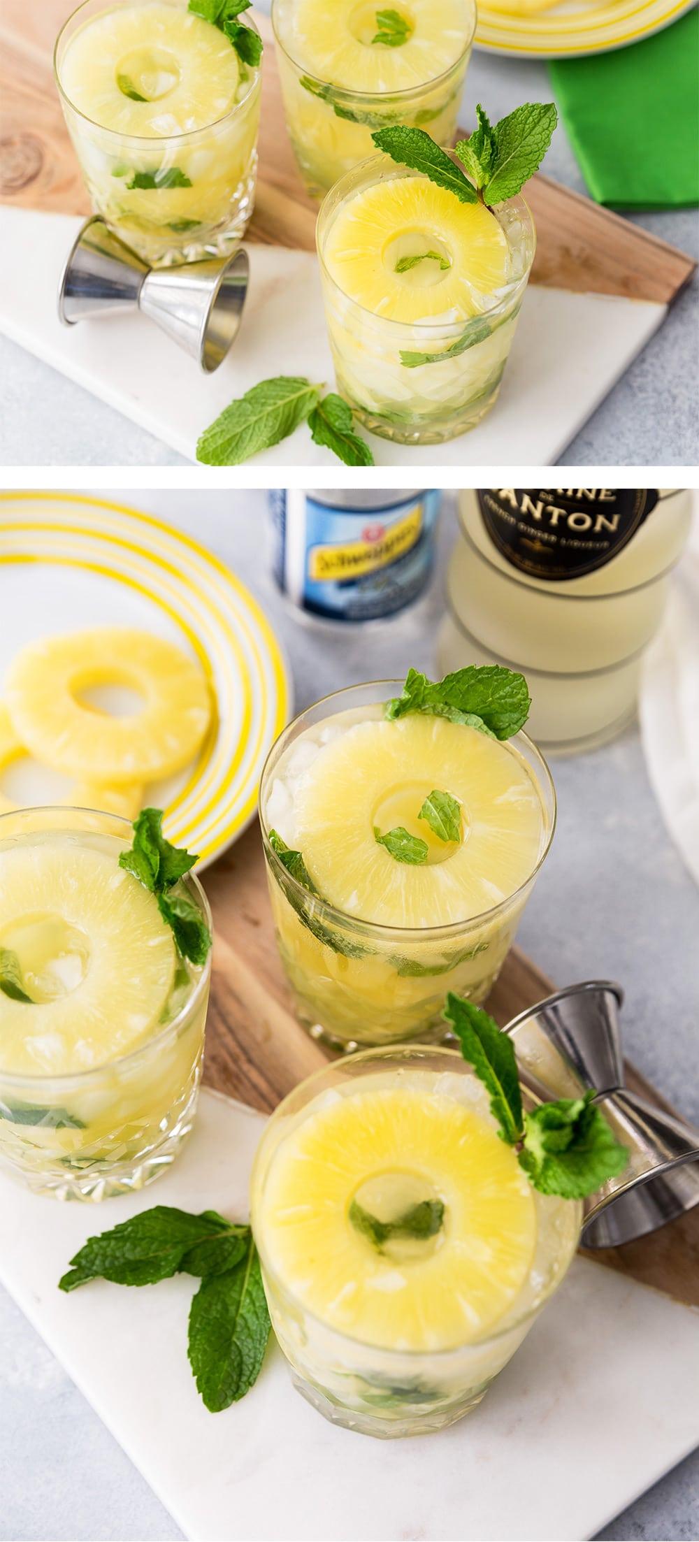 Pineapple Ginger Mojitos, refreshing cocktail recipe
