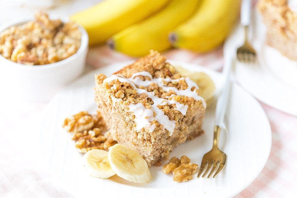 Banana Walnut Crumb Cake - Perfectly moist with the best crumble topping!
