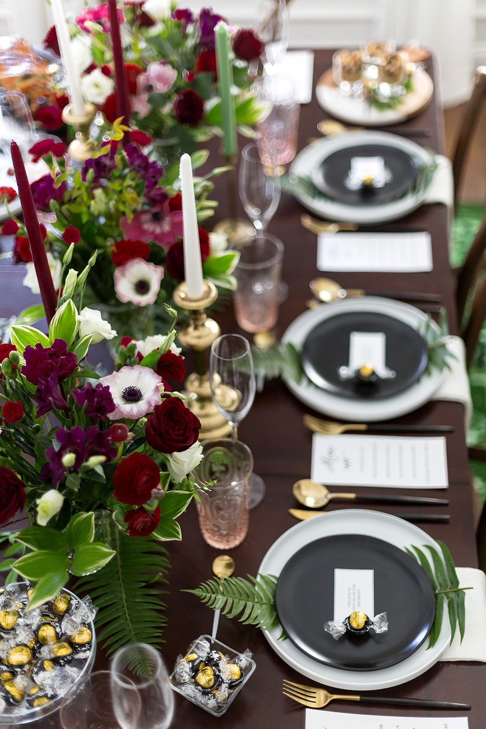 Black, White, Burgundy Tablescape by Pizzazzerie