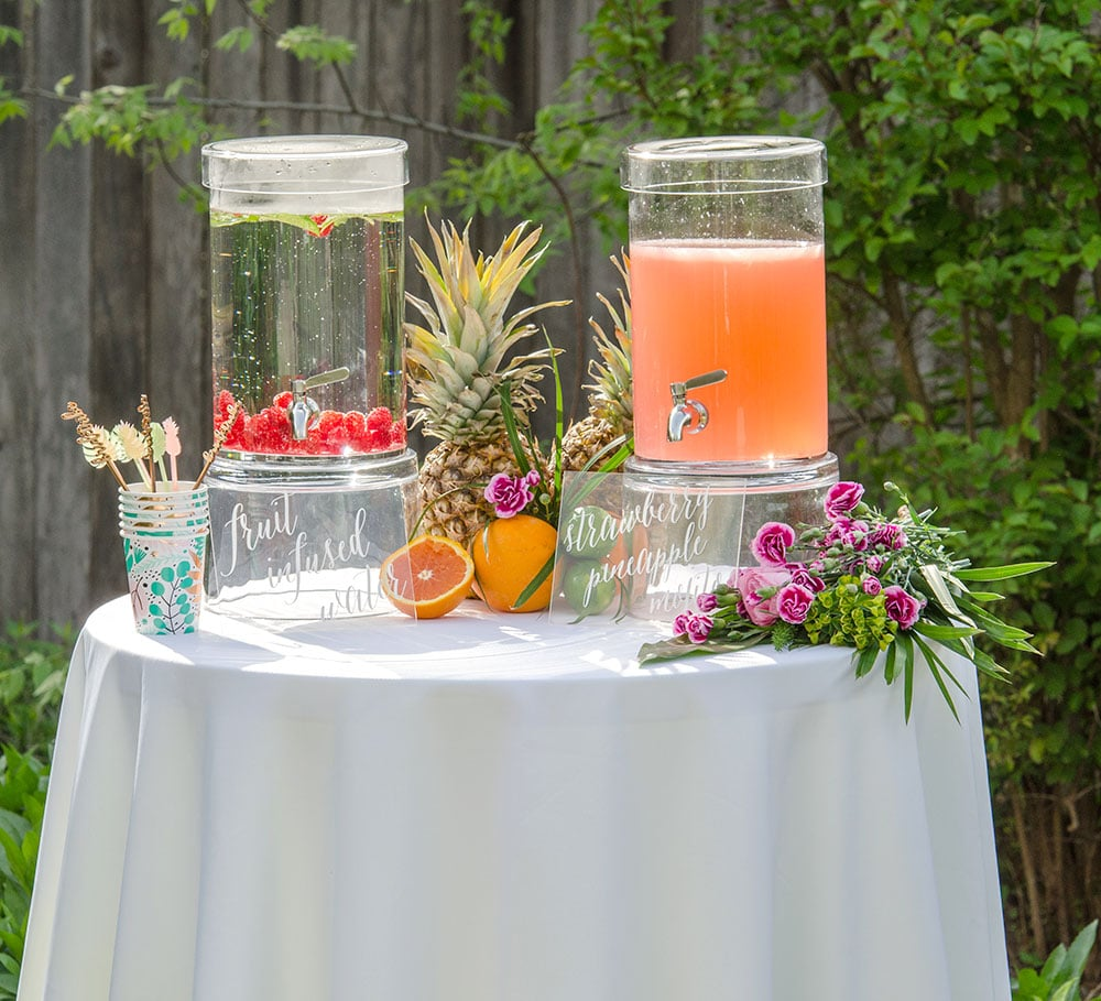 Fruit infused water at tropical bridal shower