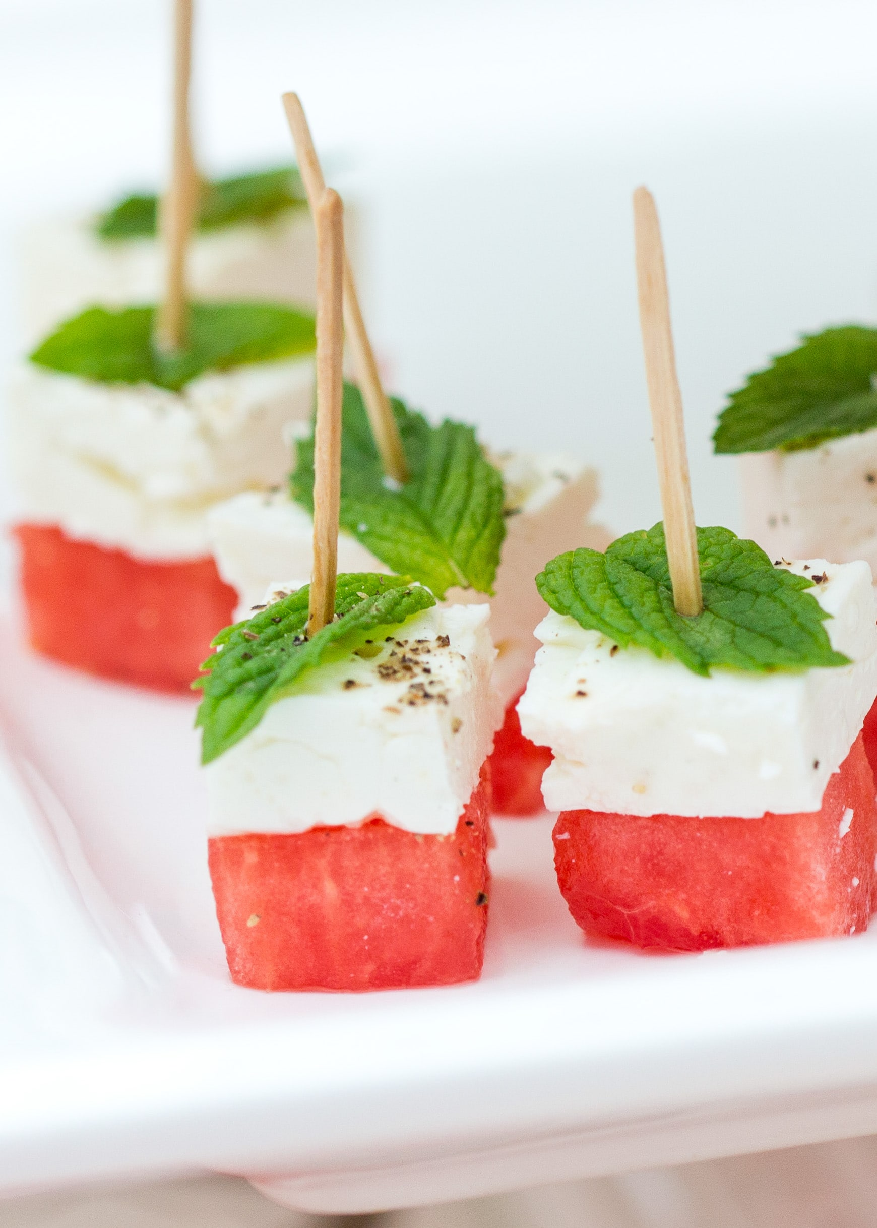 watermelon feta skewers - appetizers