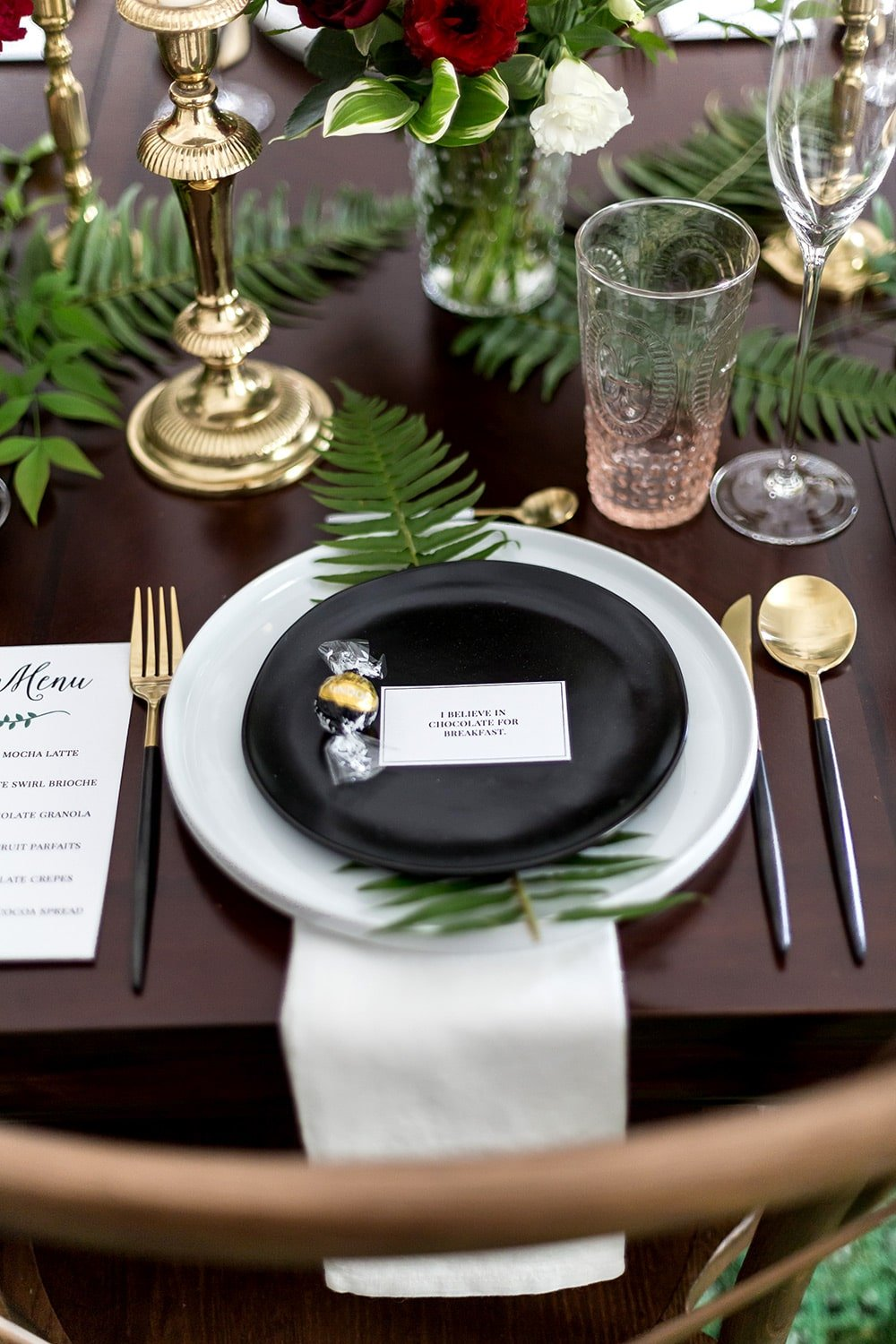 Black white and green place setting for a chocolate themed brunch!