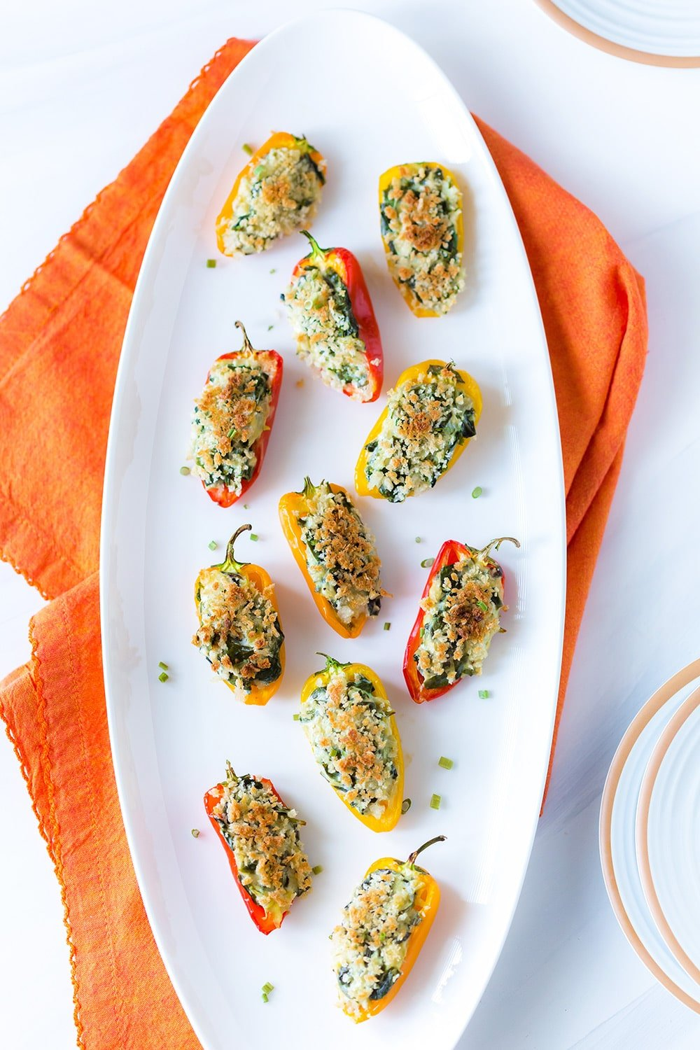 Spinach Artichoke Stuffed Mini Peppers - Healthy Appetizer Ideas