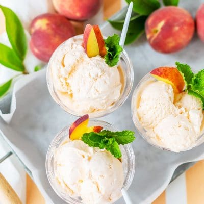 No Churn Ice Cream with Peaches