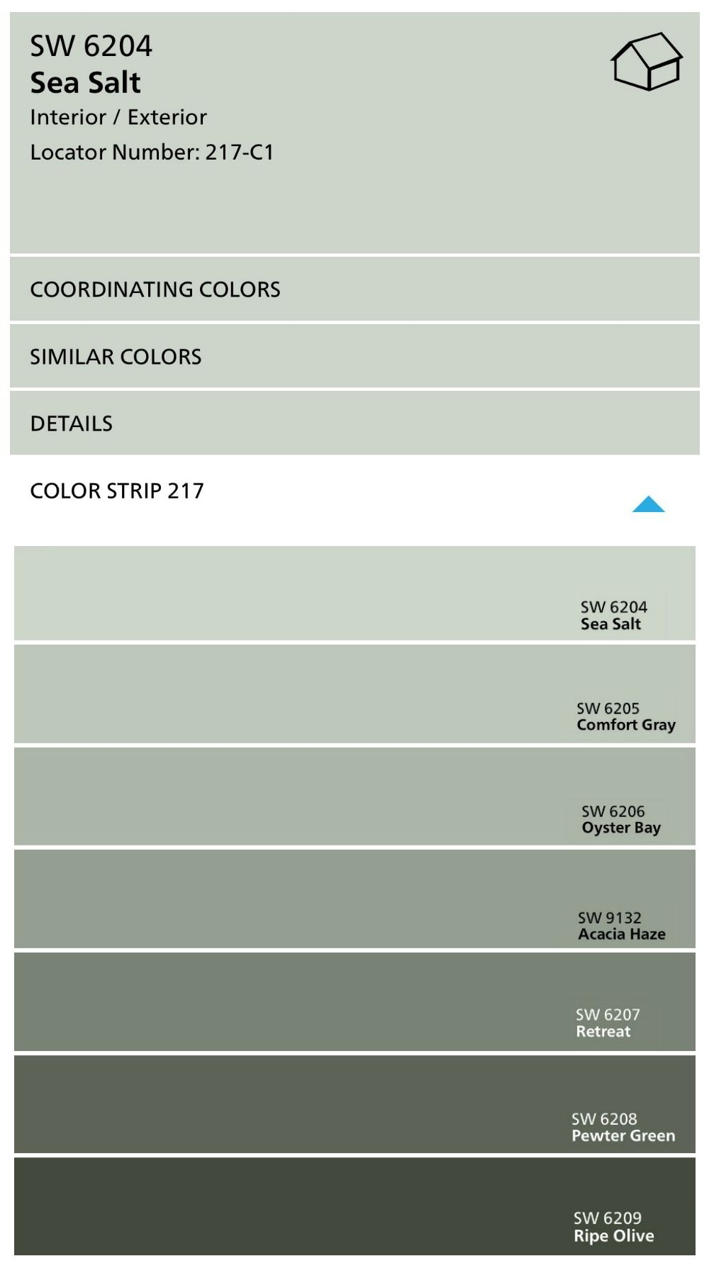 Sherwin Williams Sea Salt Paint Color