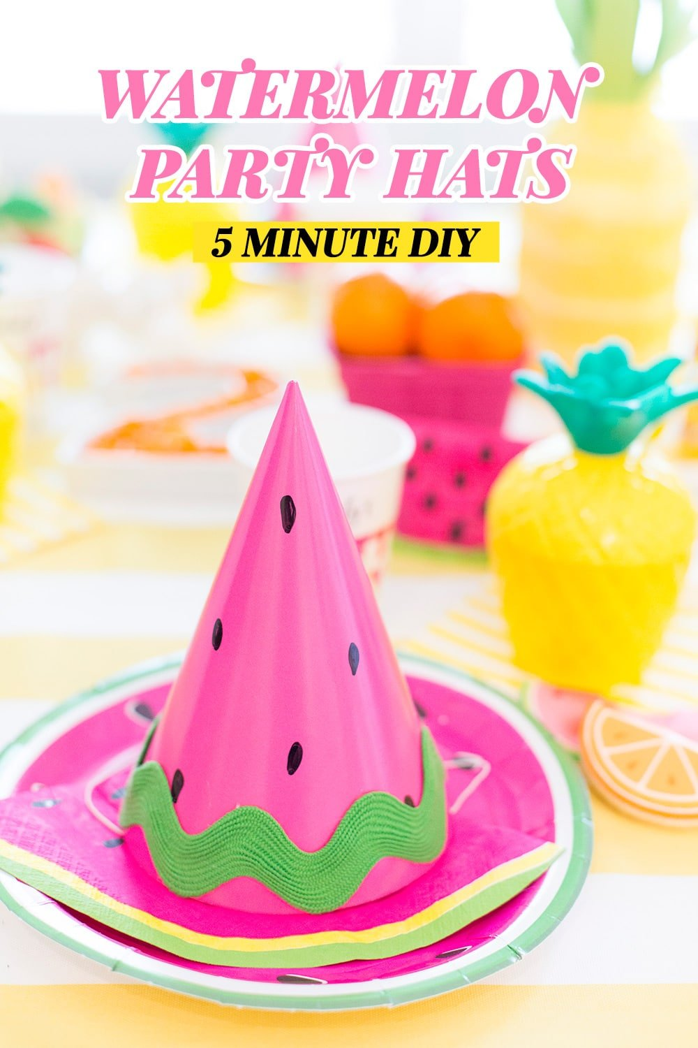 DIY Party Hat, Watermelon Party Hat