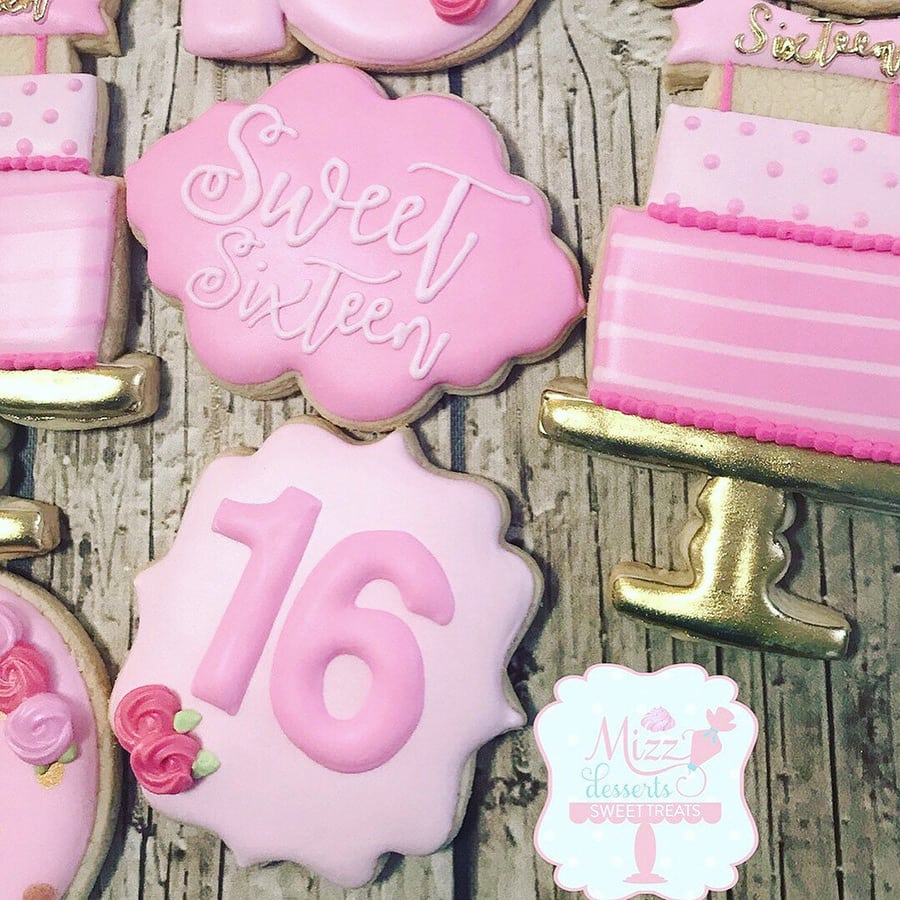 Sweet 16 Birthday Cookies