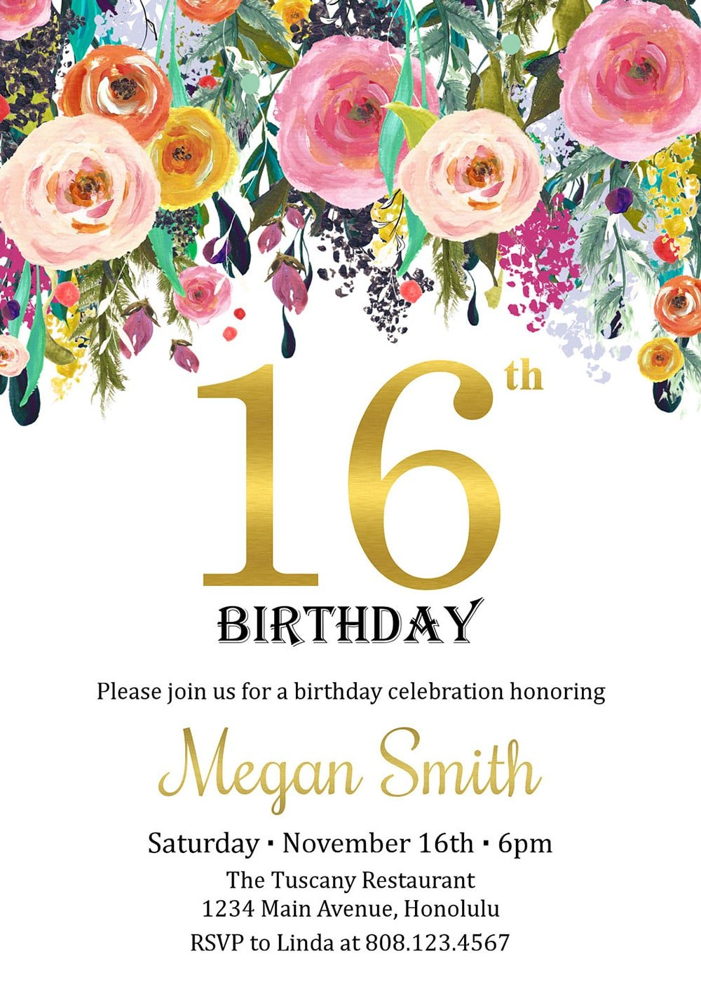 Sweet 16 Birthday Party Invitation