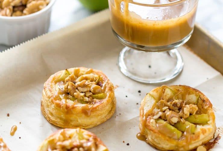 Mini Apple Walnut Galettes with Caramel Sauce