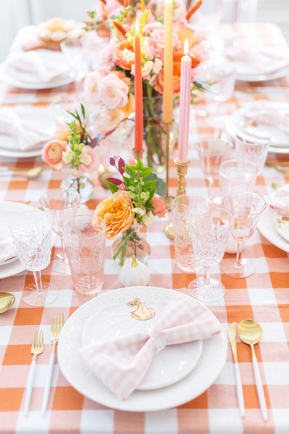 blush pink fall tablescape