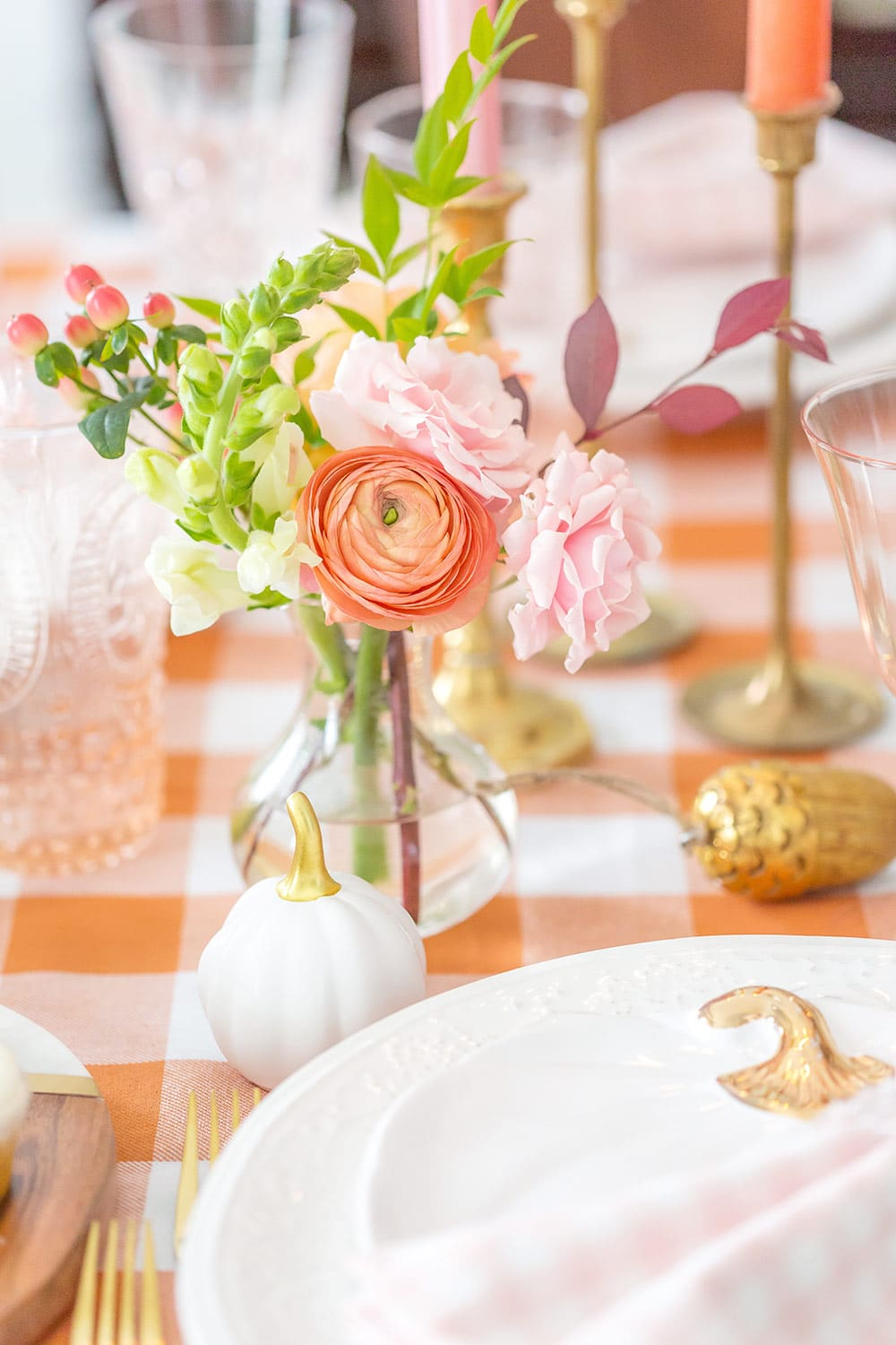 blush pink and orange flowers