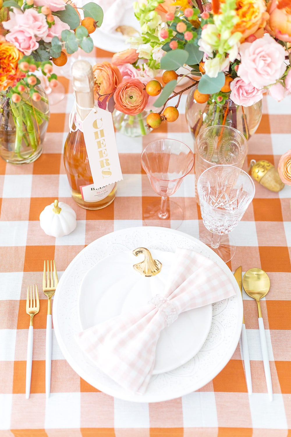 Blush pink and orange fall tablescape!