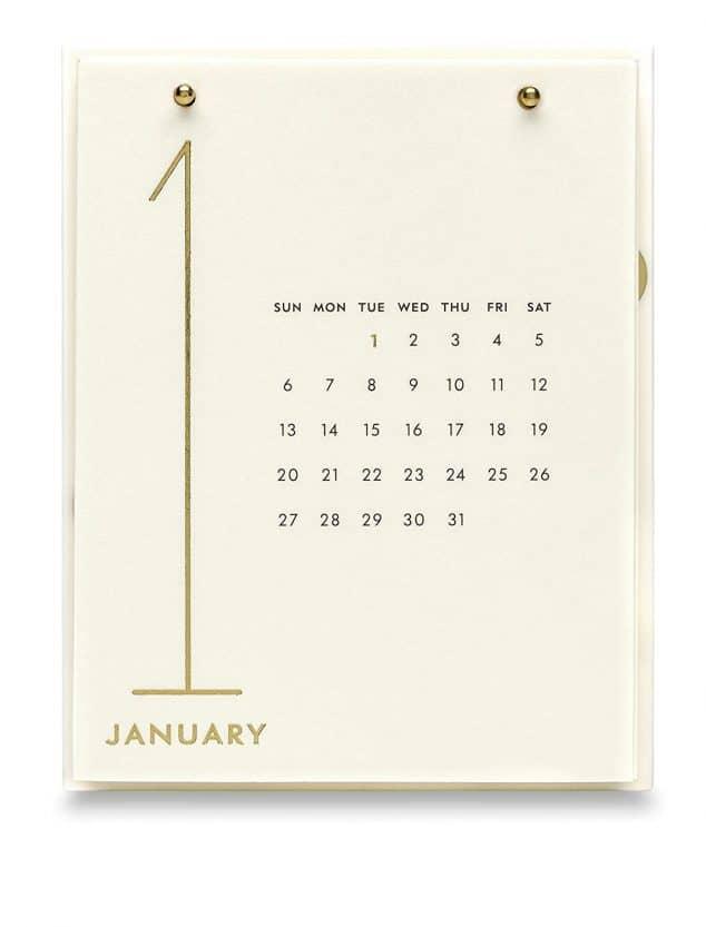 gold desktop calendar