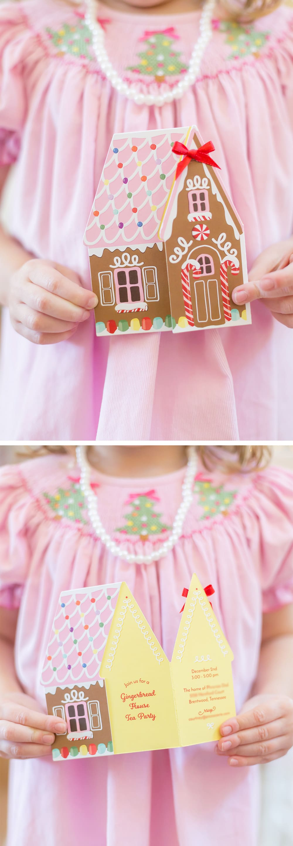 Gingerbread House Tea Party invitation
