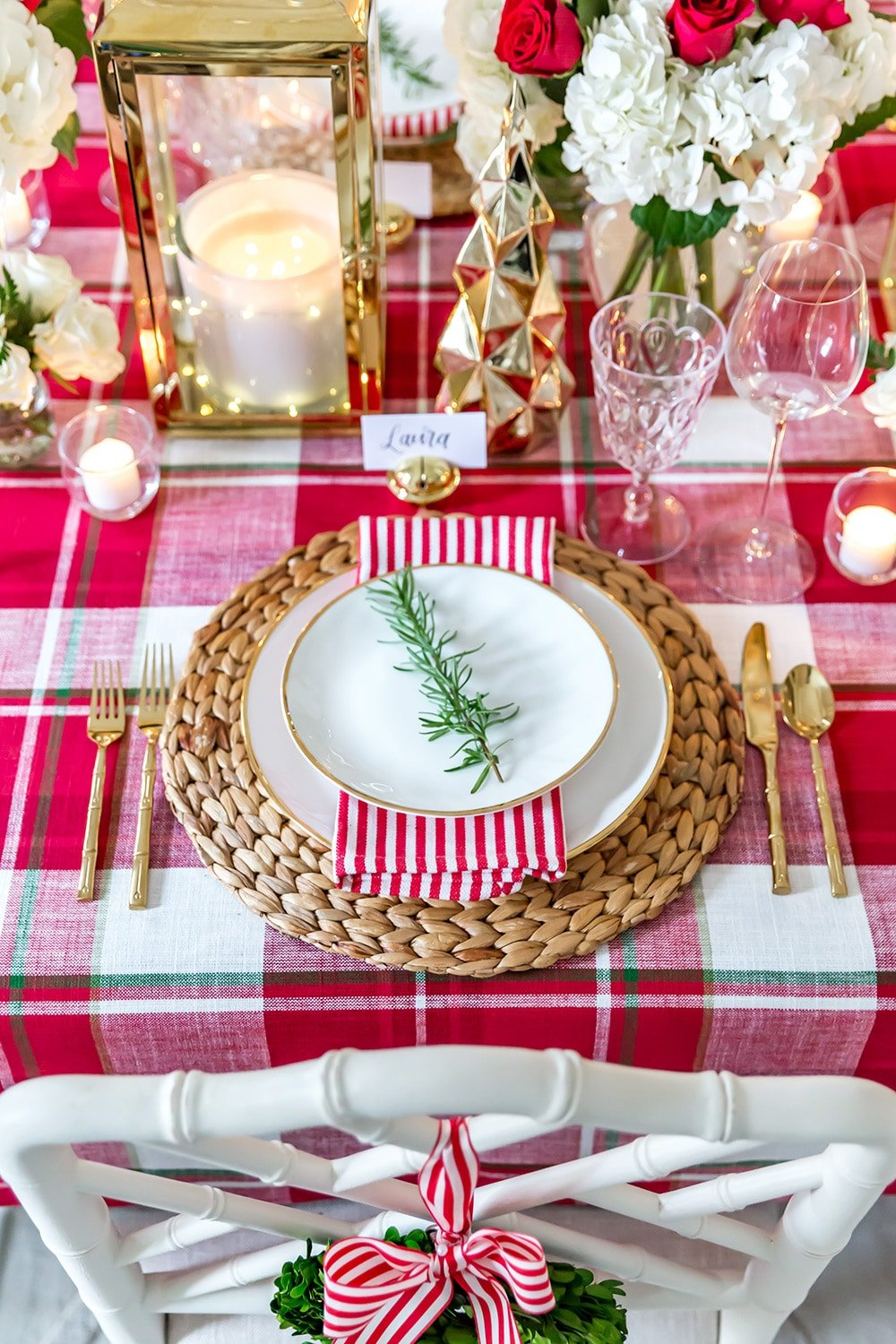 Plaid Christmas Table Decorations