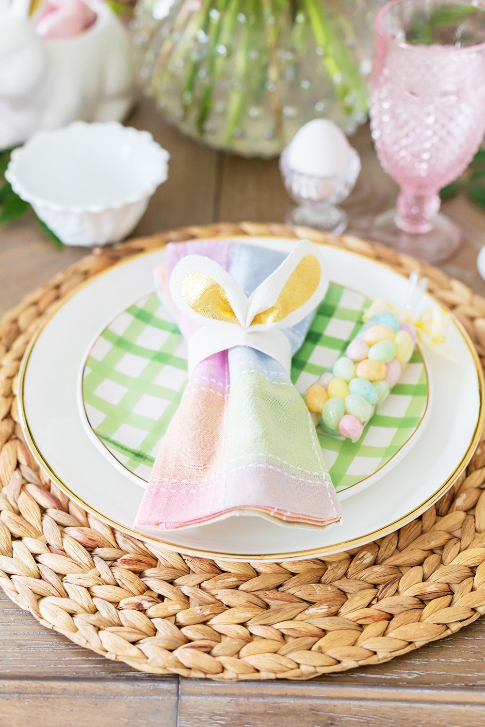 Gingham Easter Place Setting
