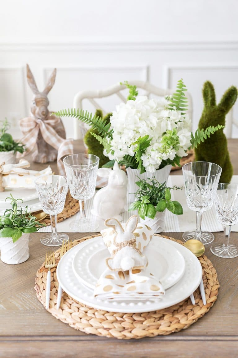 white flowers on a table with easter decor