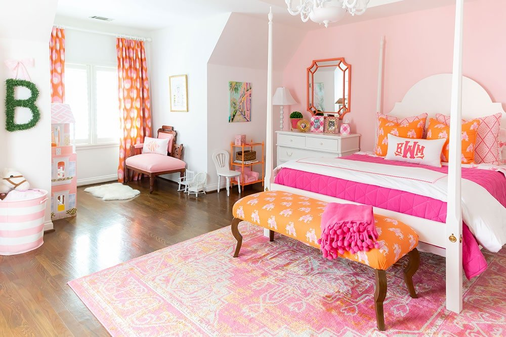 Pink and Orange Big Girl Room