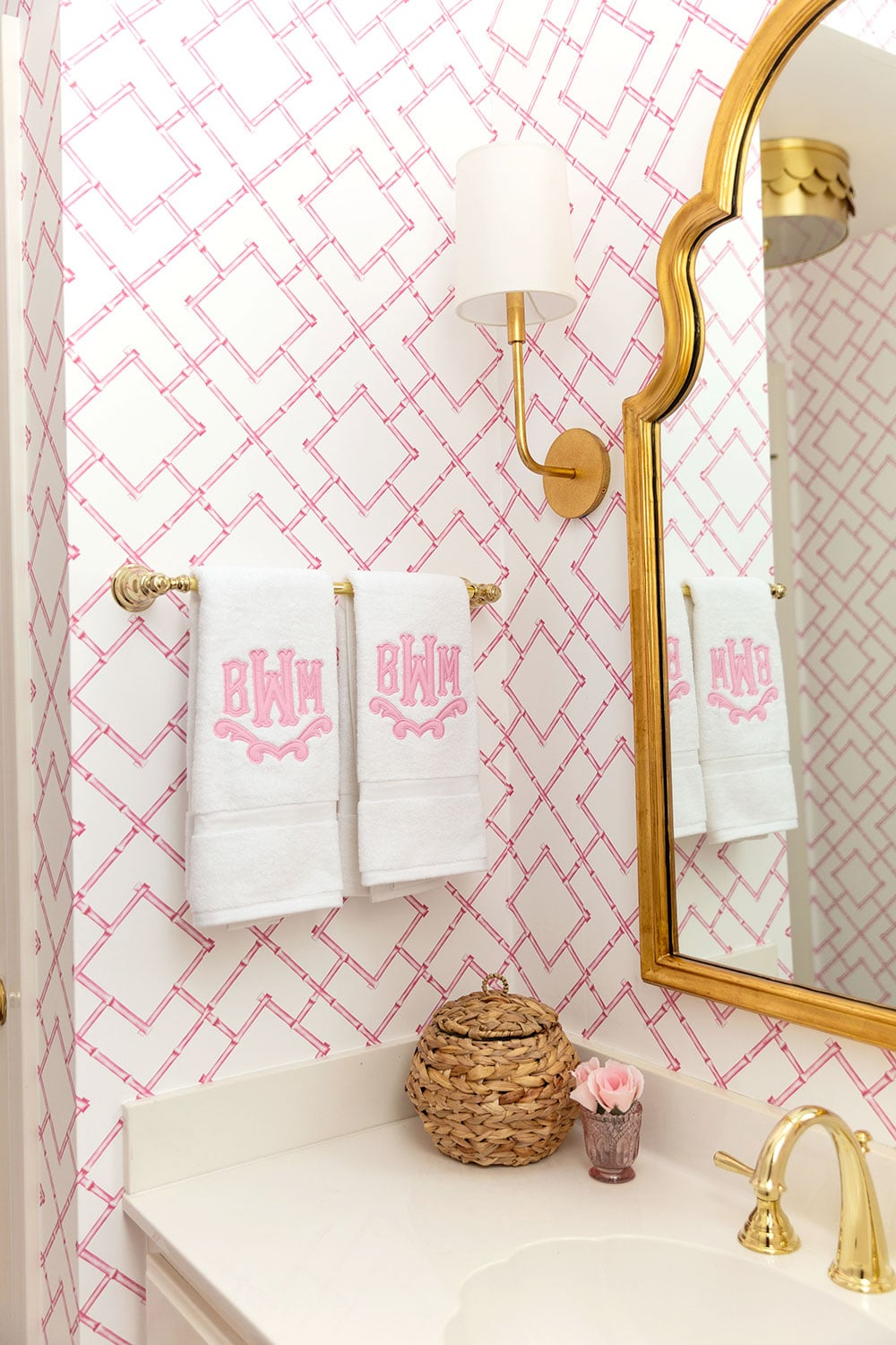 Pink and White Preppy Bathroom