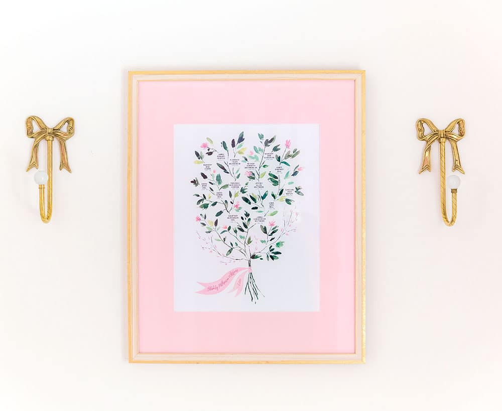 a family tree with pink mat hanging on wall
