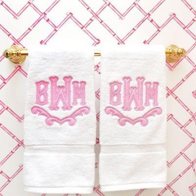 Monogram Hand Towels Pink Bathroom