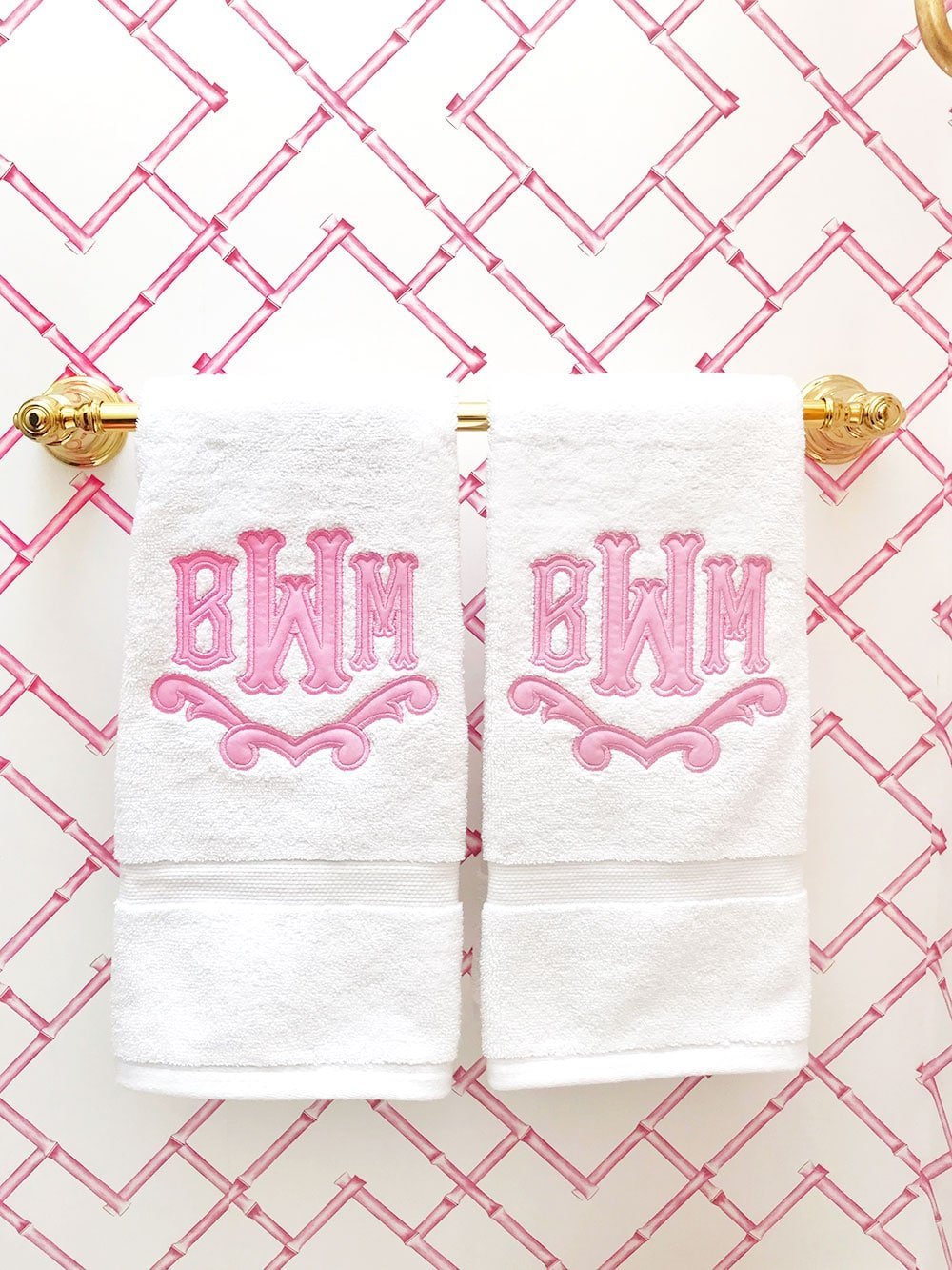 Monogram Hand Towels Pink Bathroom