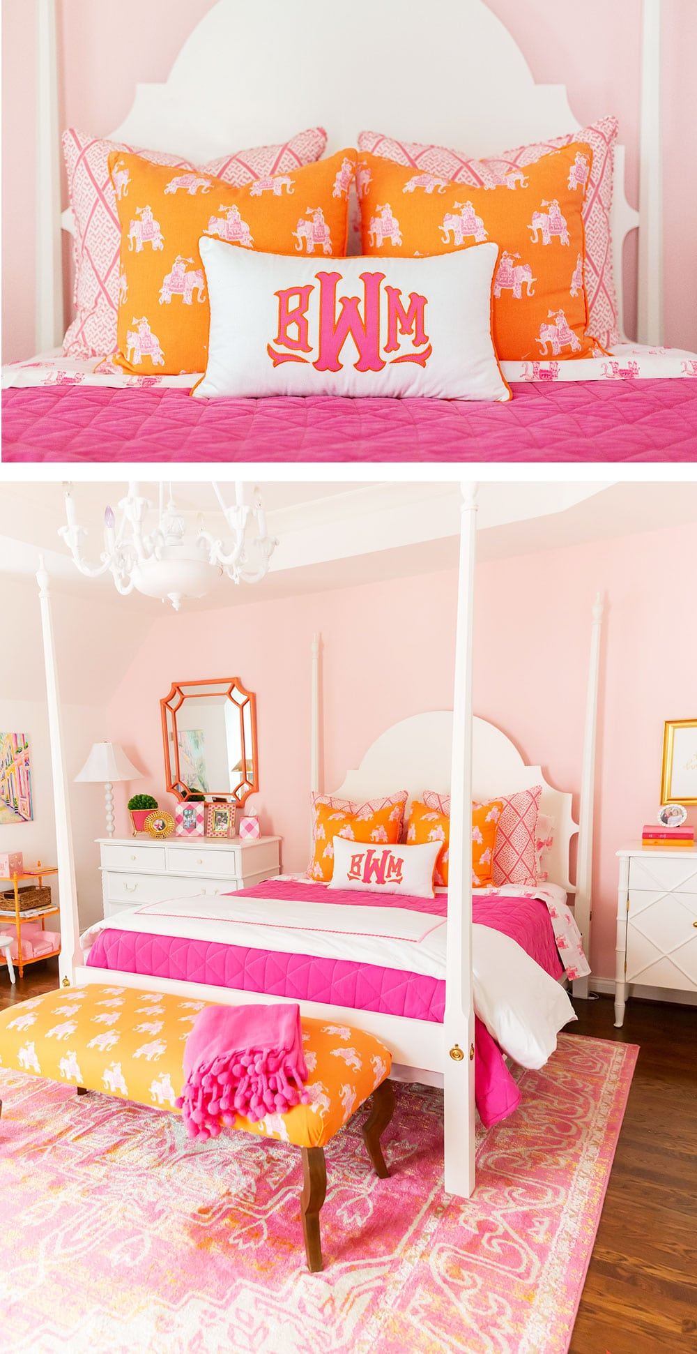 Pink and orange Big Girl Room Reveal