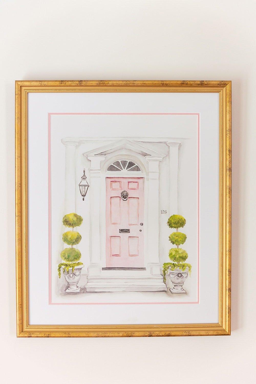 Tradd Street Pink Door Art Print