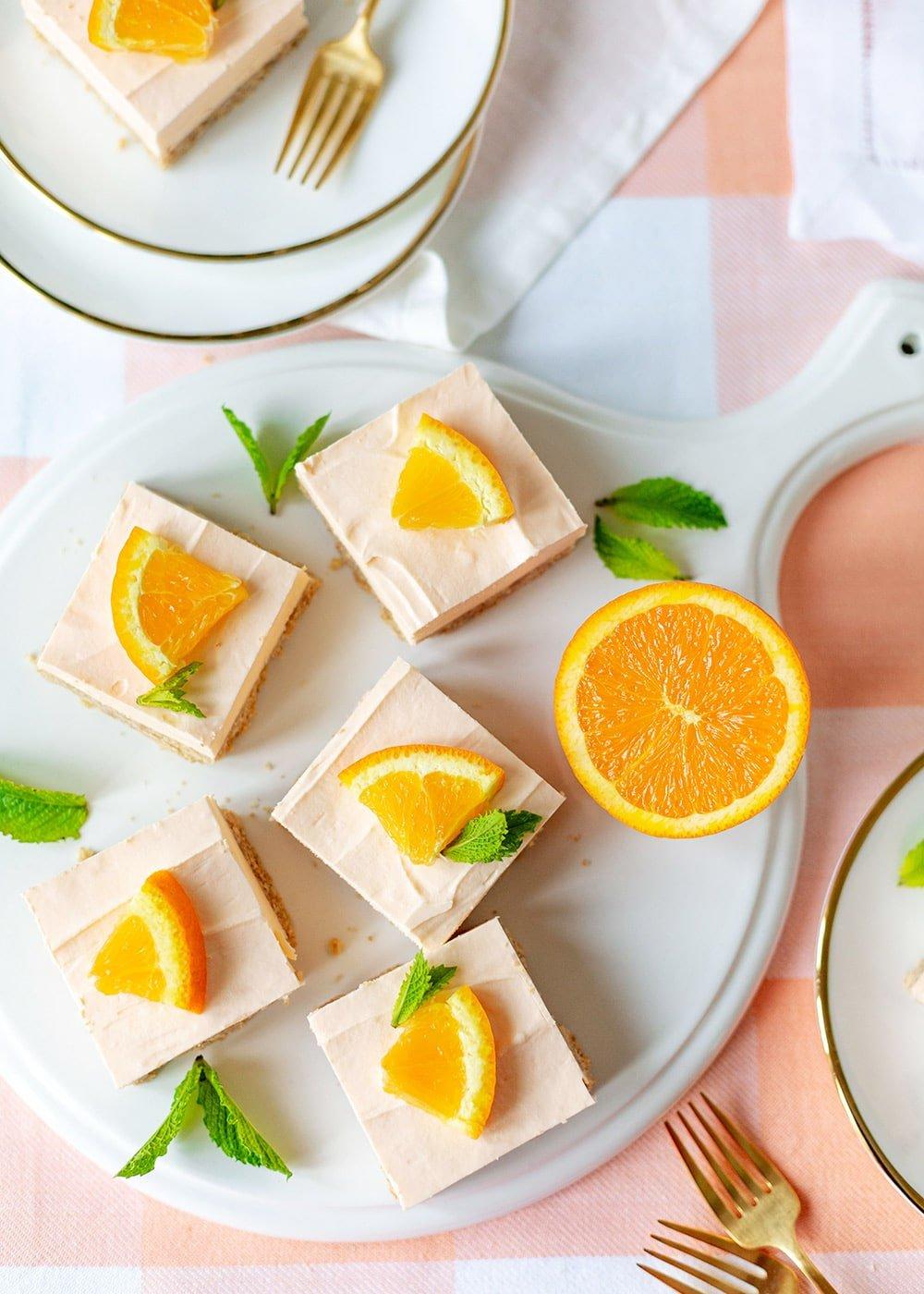 No Bake Boozy Orange Cheesecake Bars