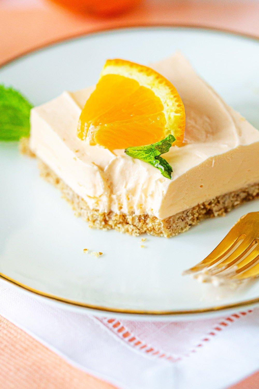 Orange Cheesecake Bars - No Bake