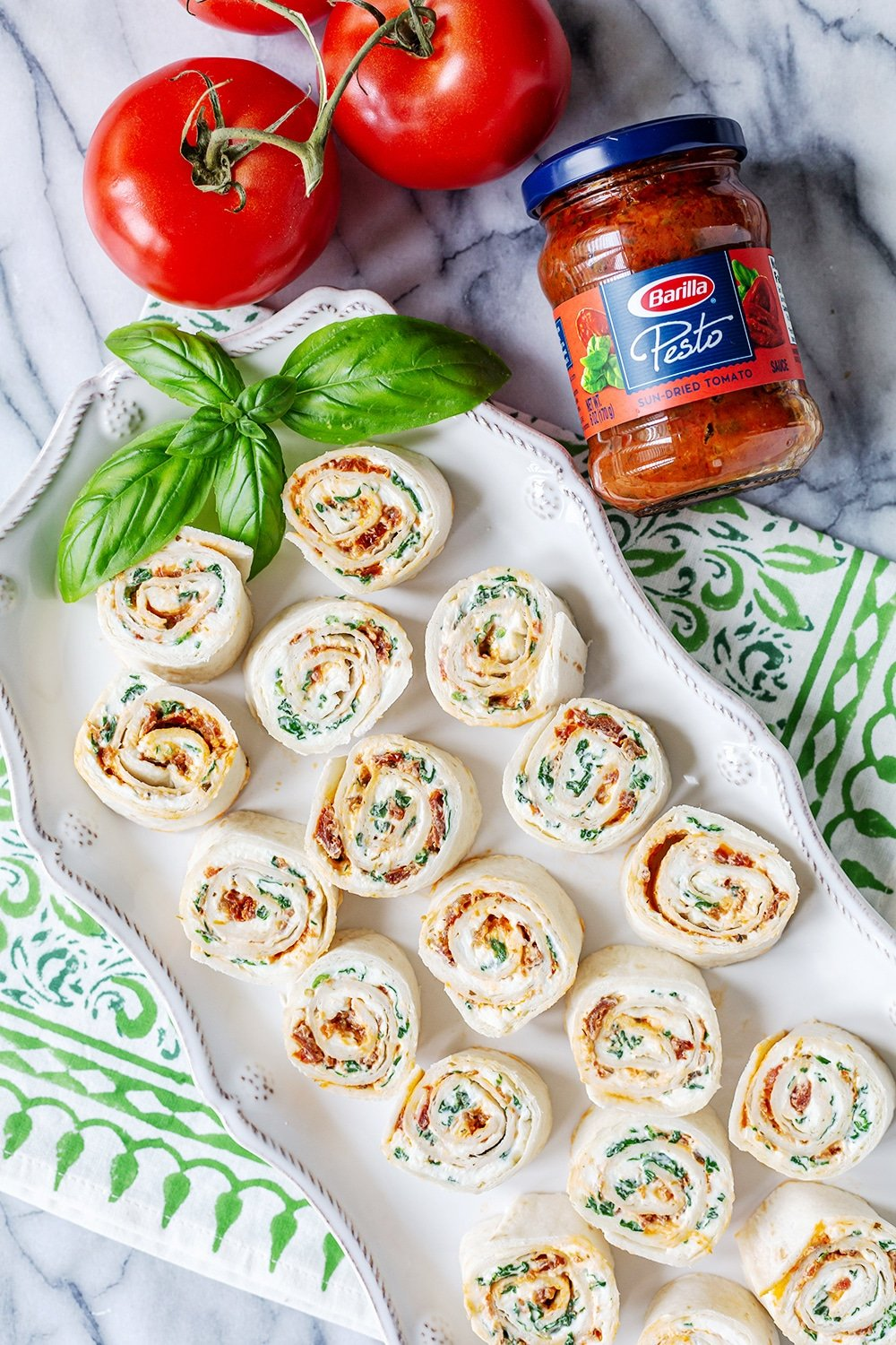 Pesto Sun Dried Tomato Pinwheels
