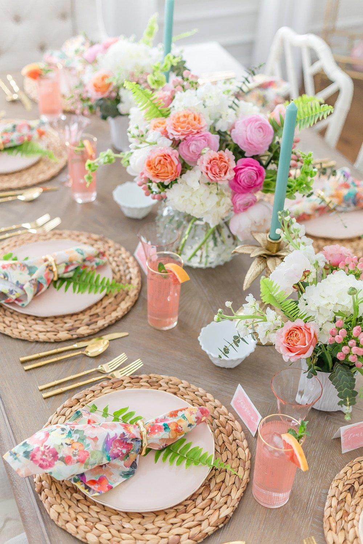 Pink Floral Tablescape