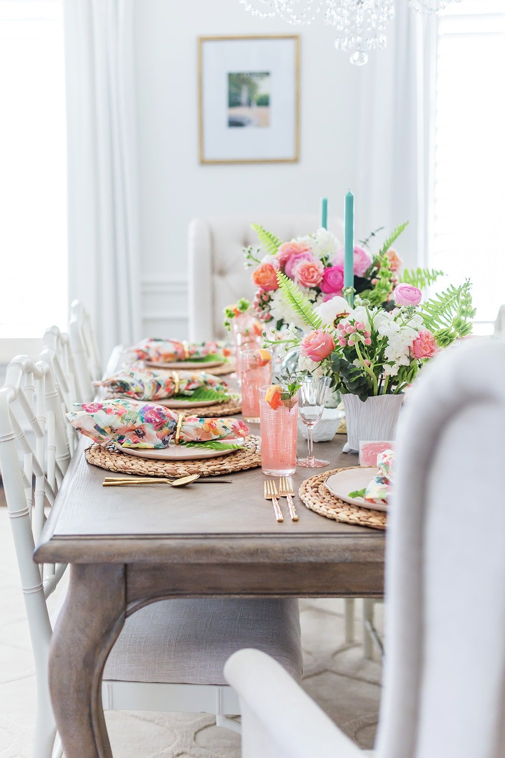 Pink and Floral Summer Tablescape