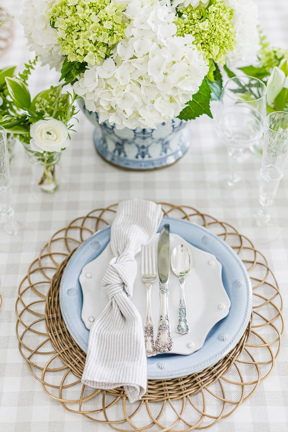 Blue and White Tablescape Place Setting