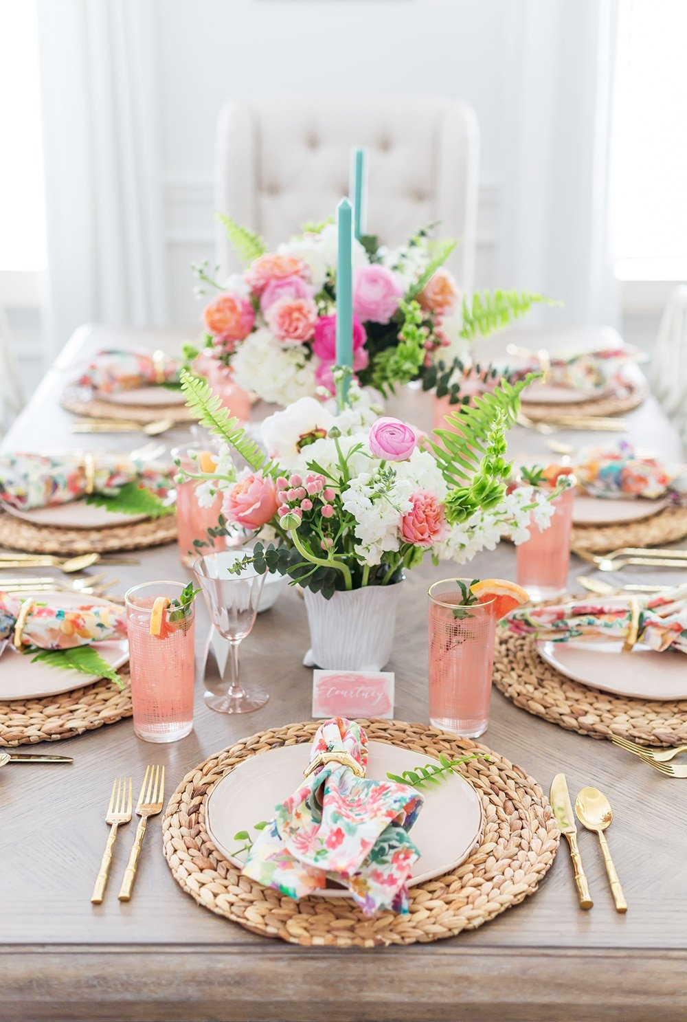 Floral and Fern Summer Tablescape