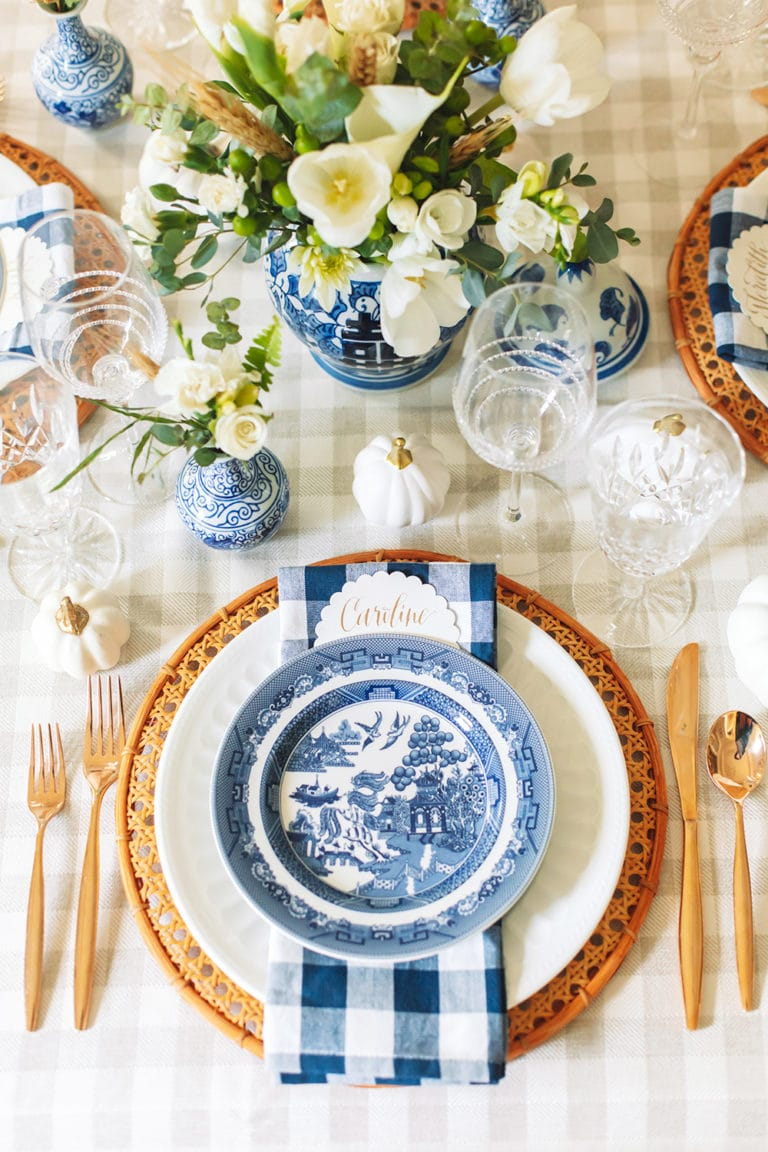 Fall Decor: Style a Gorgeous Blue and White Fall Tablescape