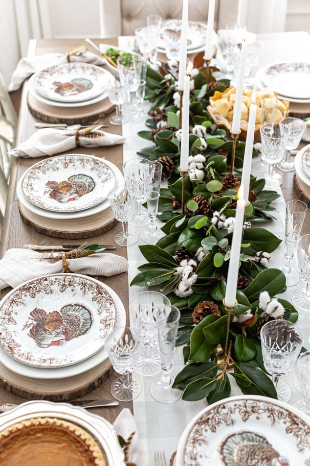 Southern Tablescape with Magnolia and Cottton