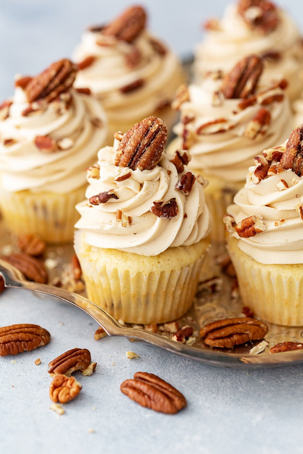pecan cupcakes on a silver tray