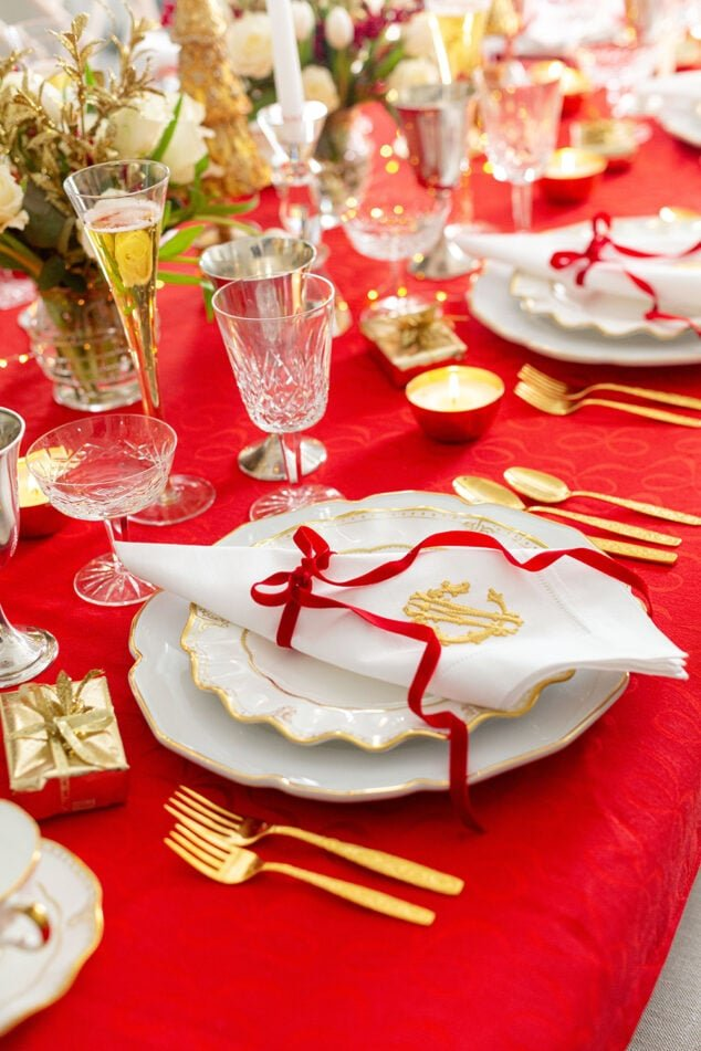 Red Bow Table Setting with Fine China