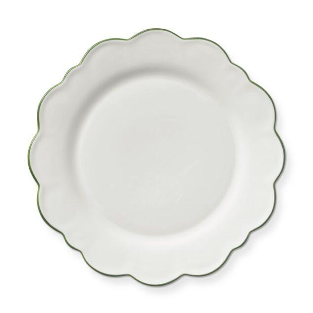 scalloped white dinner plate