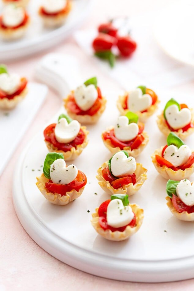 Heart Caprese Phyllo Cups