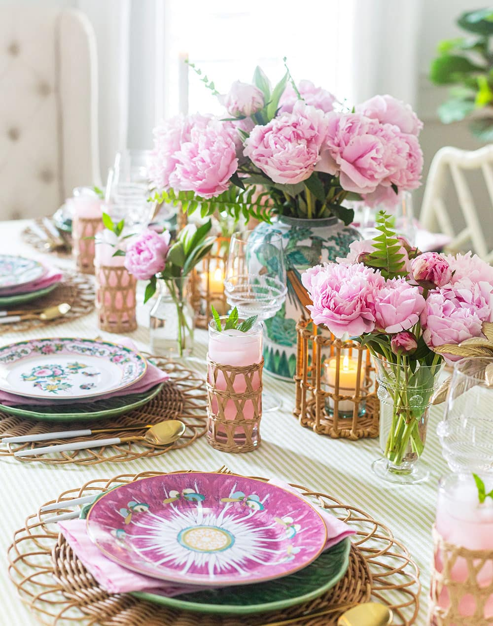 Pink Peony Garden Tablescape