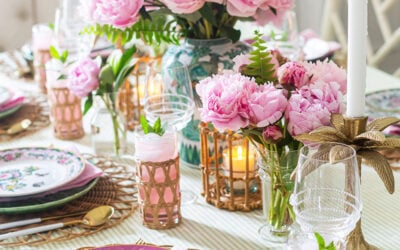 Rattan and Floral Tablescape