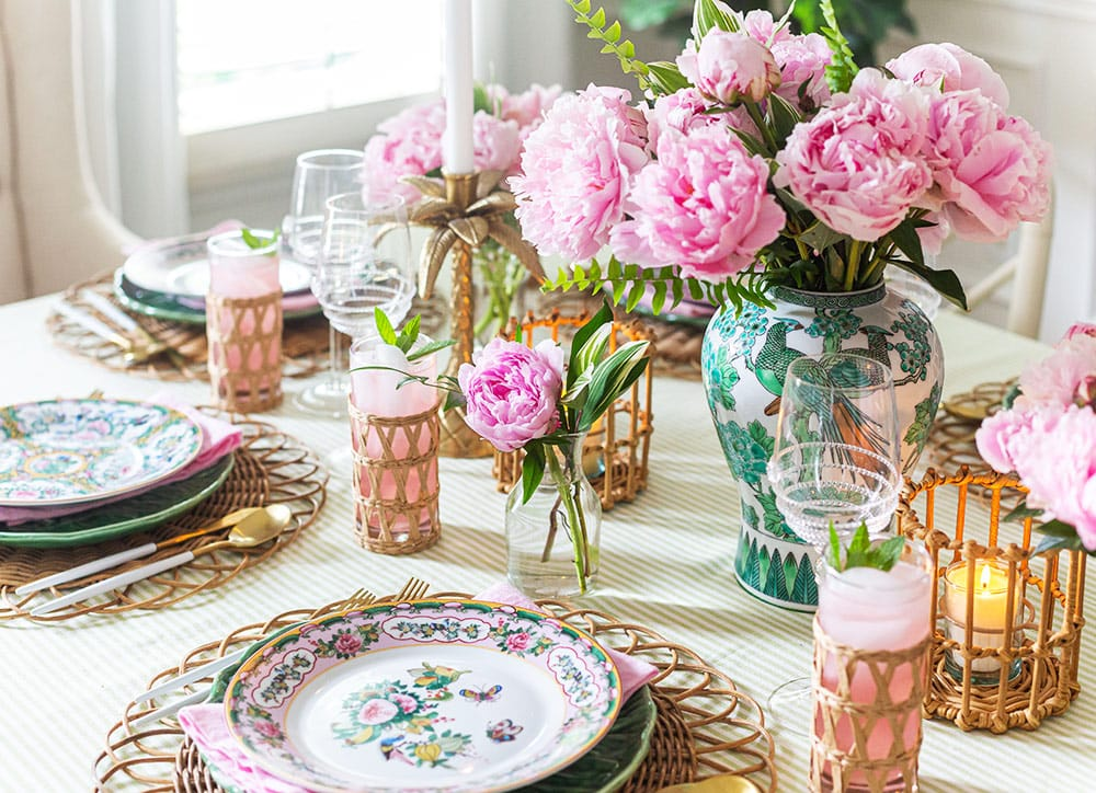 Peony Tablescape in Pink and Green